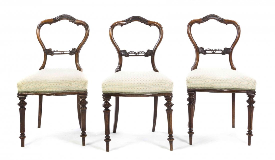 A Set of Three Victorian Mahogany Side Chairs, Height