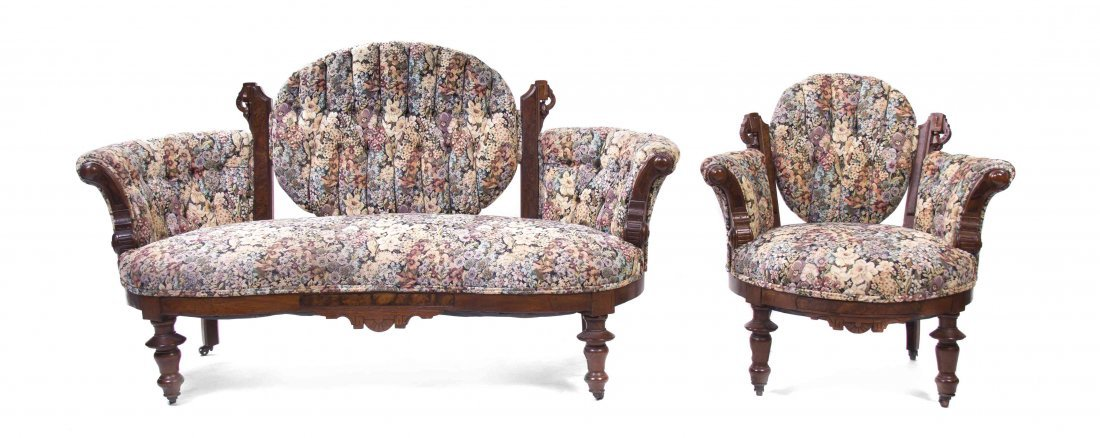 A Victorian Two Piece Walnut Parlor Suite, Width of