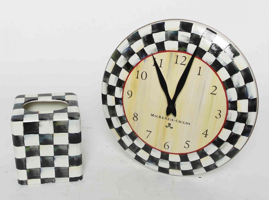 A Mackenzie Childs Wall Clock, Diameter 12 inches.