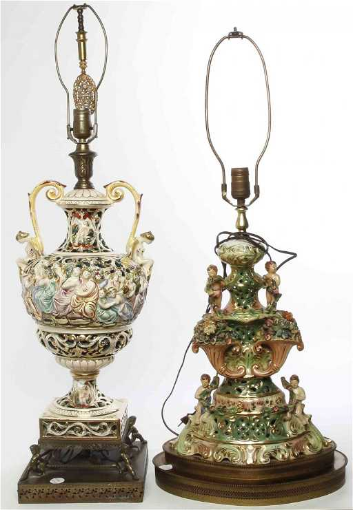 Two Capodimonte Porcelain Lamps Height Of Tallest Vase