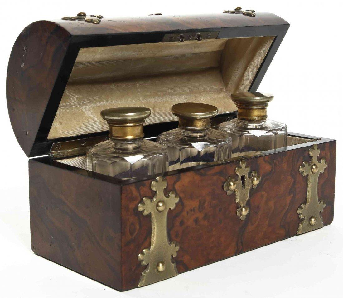 A Victorian Brass Banded Burlwood Scent Casket, Width 7