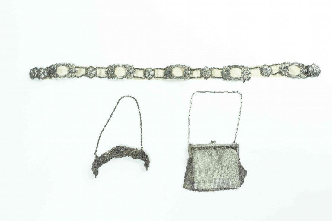 A Silver Purse Handle, Mesh Bag and Plated Art Nouveau