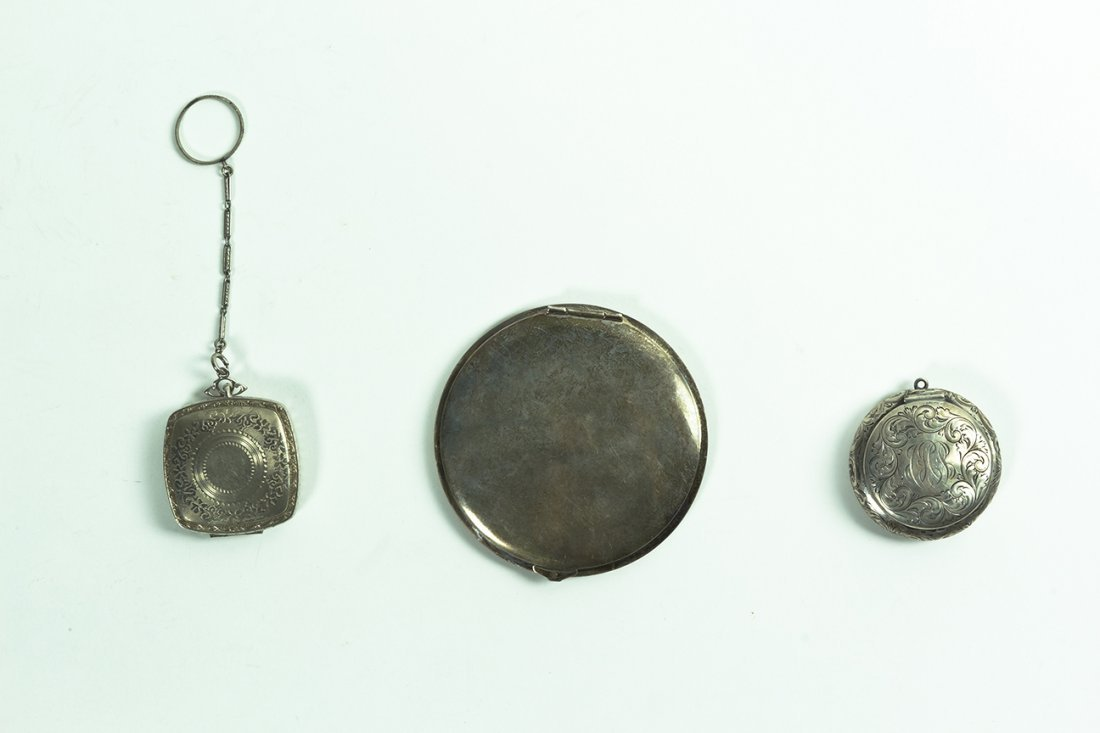 A Silver Compact and Two Silver Pill Boxes. Diameter of
