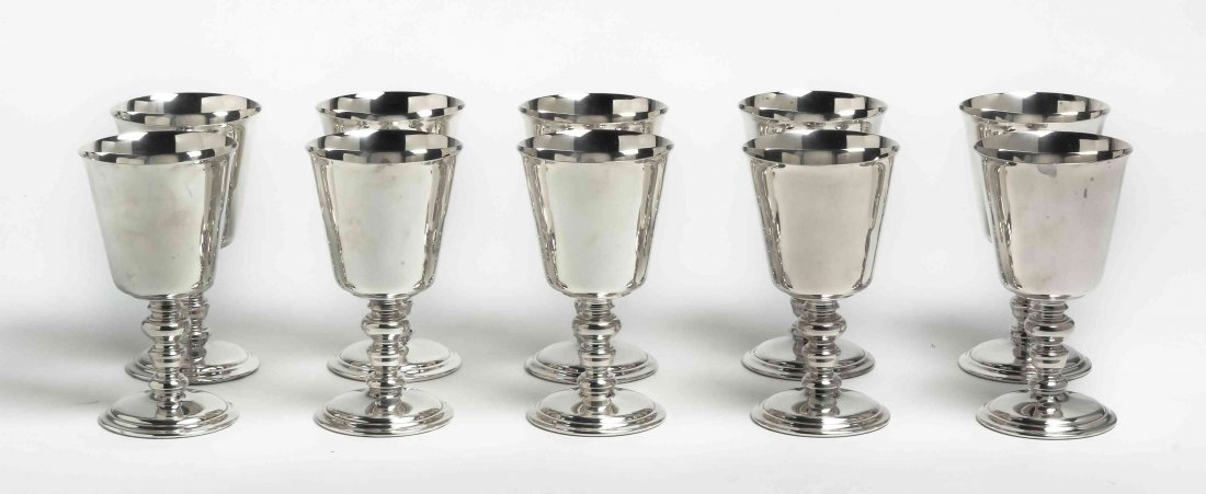 A Set of Ten American Silver-Plate Goblets, Reed and
