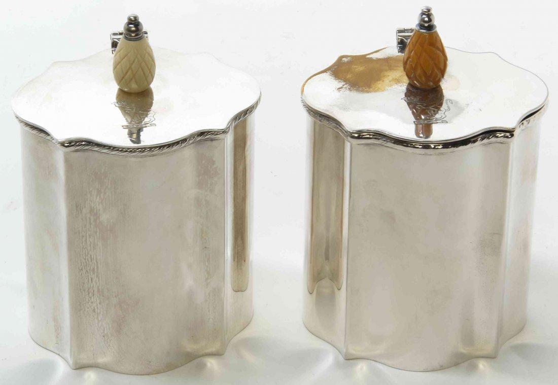 A Pair of English Silver-Plate Tea Caddies, Height