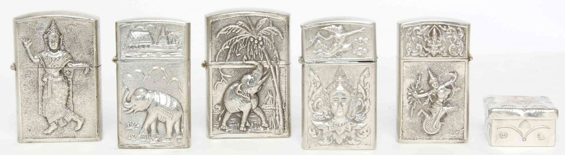 Five Siamese Silver Lighters, Height of tallest 2 1/4