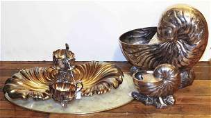 Two Silvered Metal Shell Form Spoon Warmers Height of