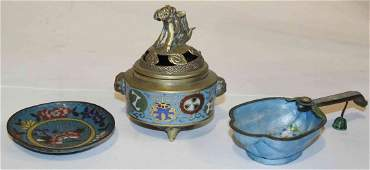 Three Chinese Enameled Articles, Width of censer at
