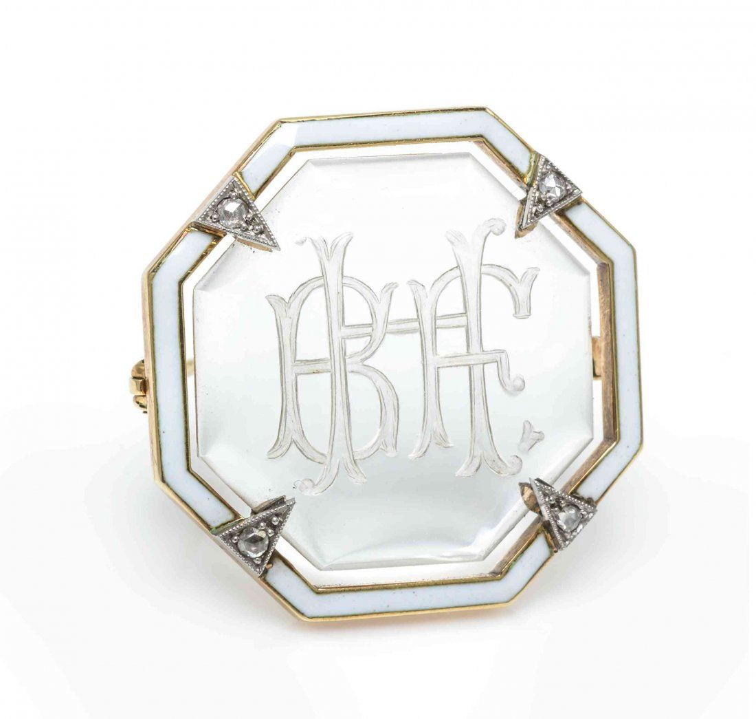 An Art Deco Platinum Topped Gold, Rock Crystal and