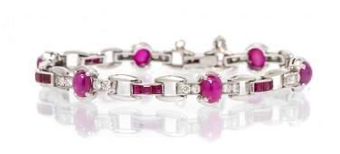 A Platinum Ruby and Diamond Bracelet Tiffany  Co