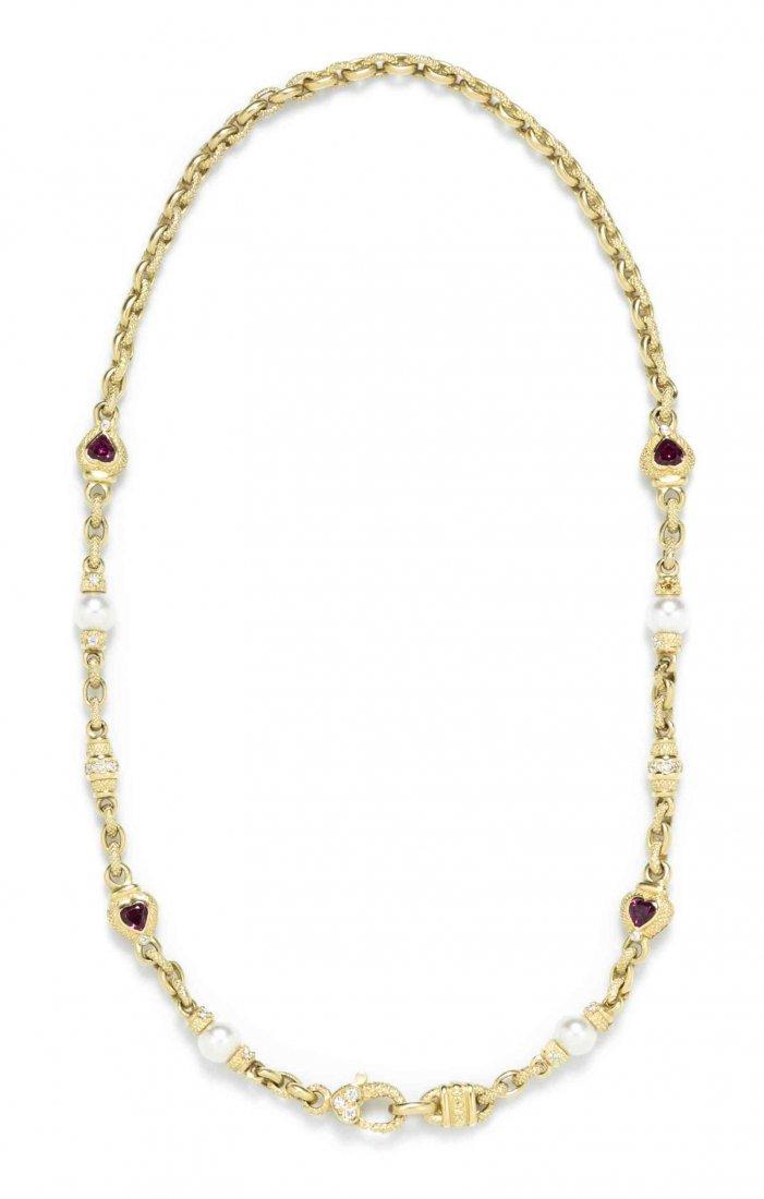 An 18 Karat Yellow Gold, Diamond, Cultured Pearl and