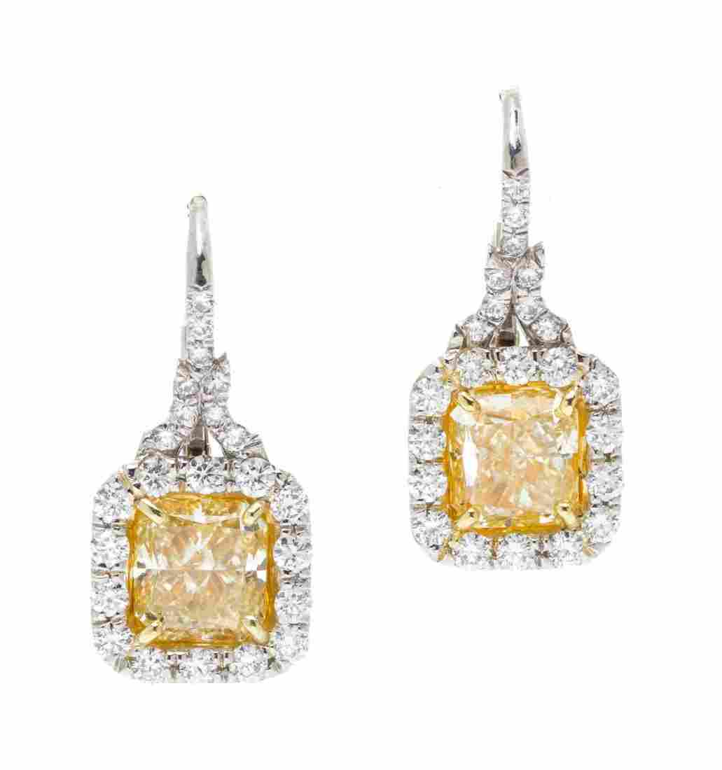 A Pair of Platinum, 18 Karat Yellow Gold, Fancy Color
