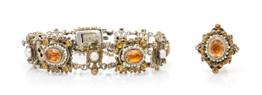 An Antique Gilt Silver, Citrine and Seed Pearl Demi