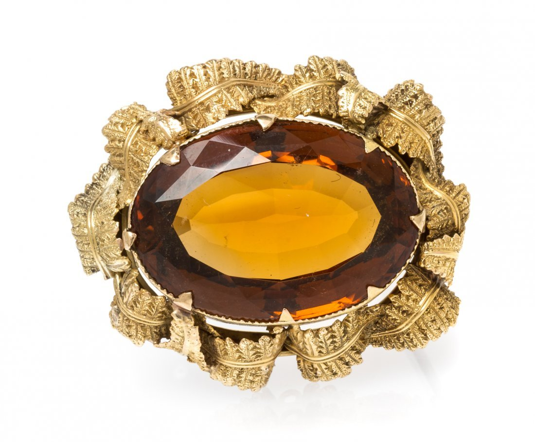 An Antique Yellow Gold and Citrine Brooch, 16.40 dwts.