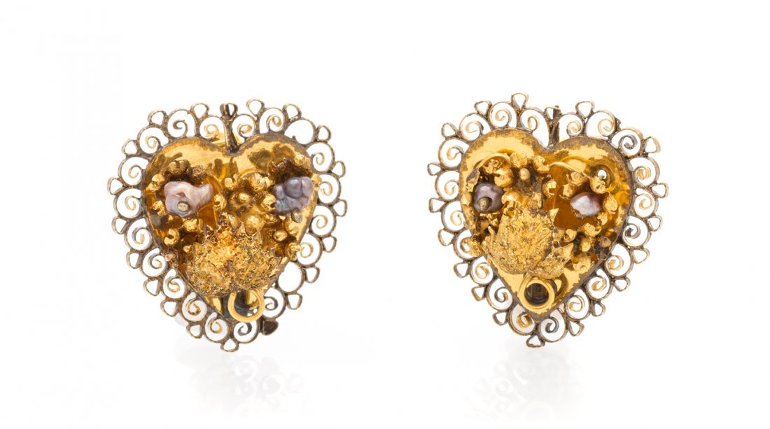 A Pair of Antique Yellow Gold and Pearl Earrings, 3.20