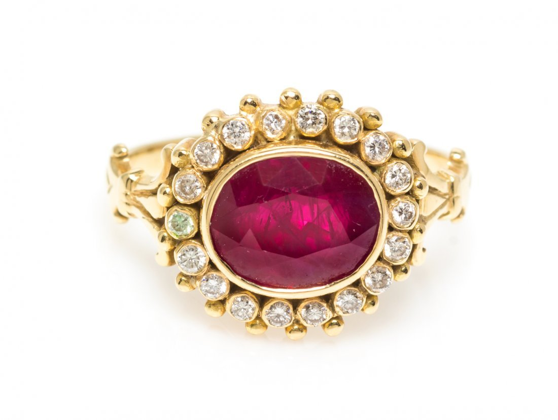 A Yellow Gold, Ruby and Diamond Ring, 3.00 dwts.