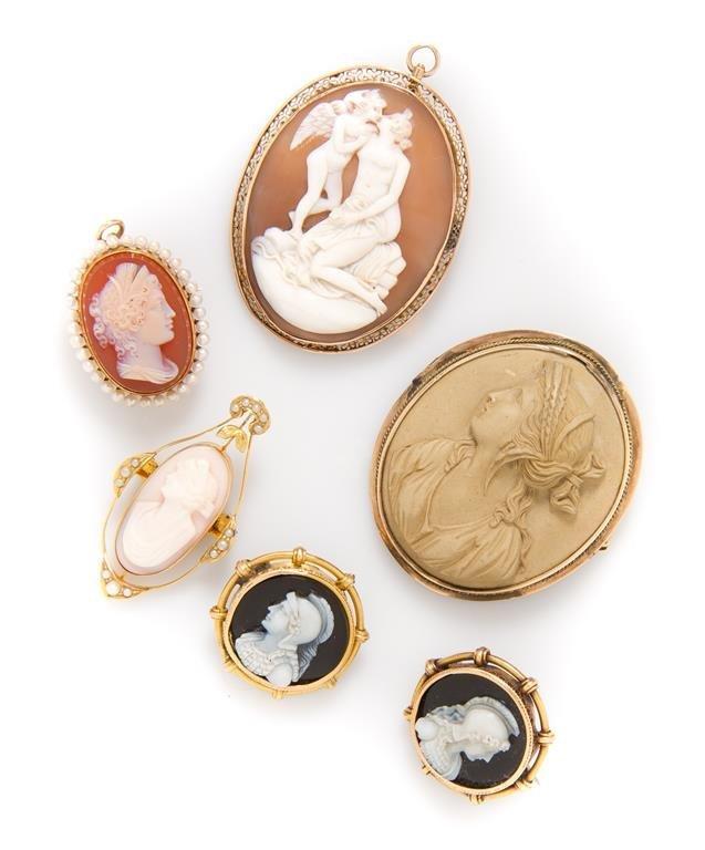 A Collection of Cameo Brooches, Circa 1870-1930,