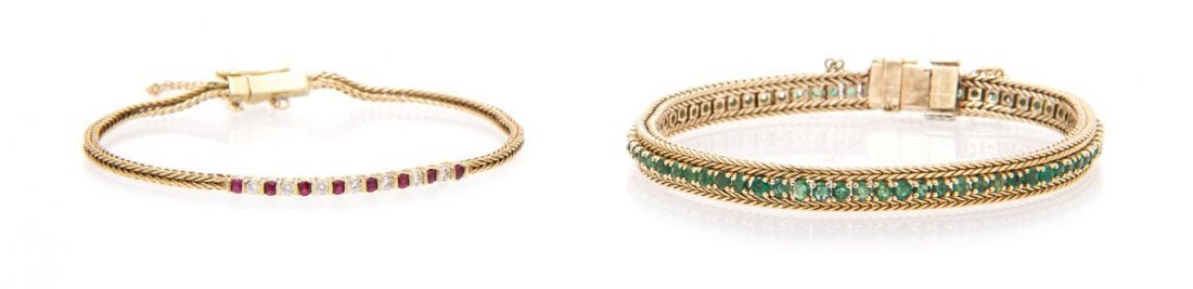A Collection of Yellow Gold and Multi Gem Bracelets,