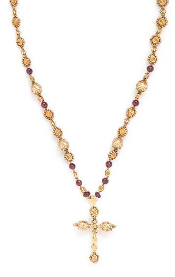 A Goldtone Bead and Garnet Cross Necklace,