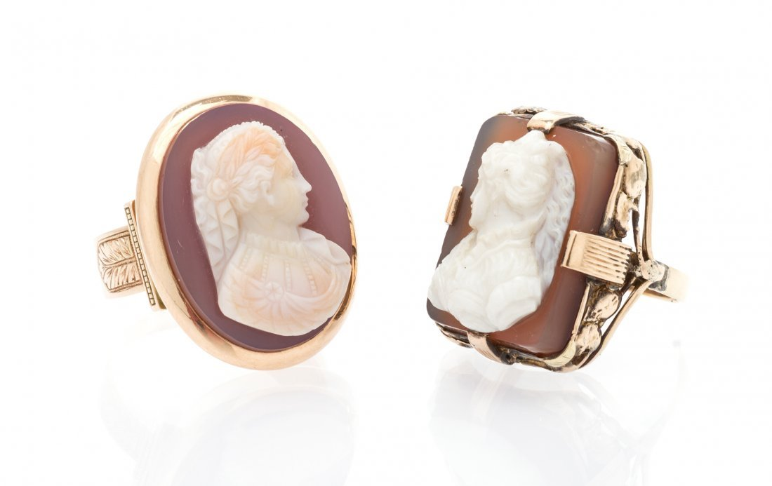 A Collection of 14 Karat Gold and Agate Cameo Rings,