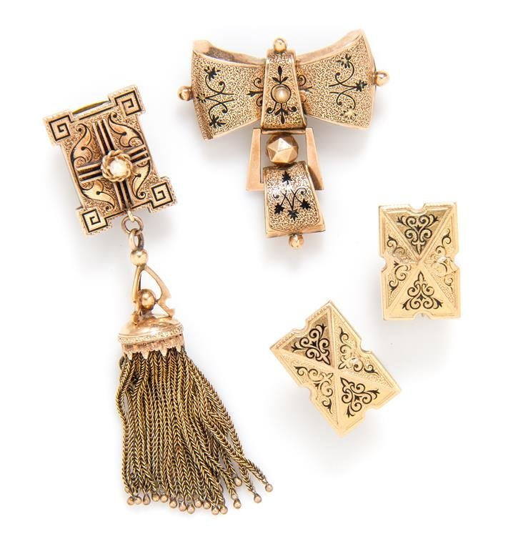 A Collection of Antique Yellow Gold and Enamel Jewelry,