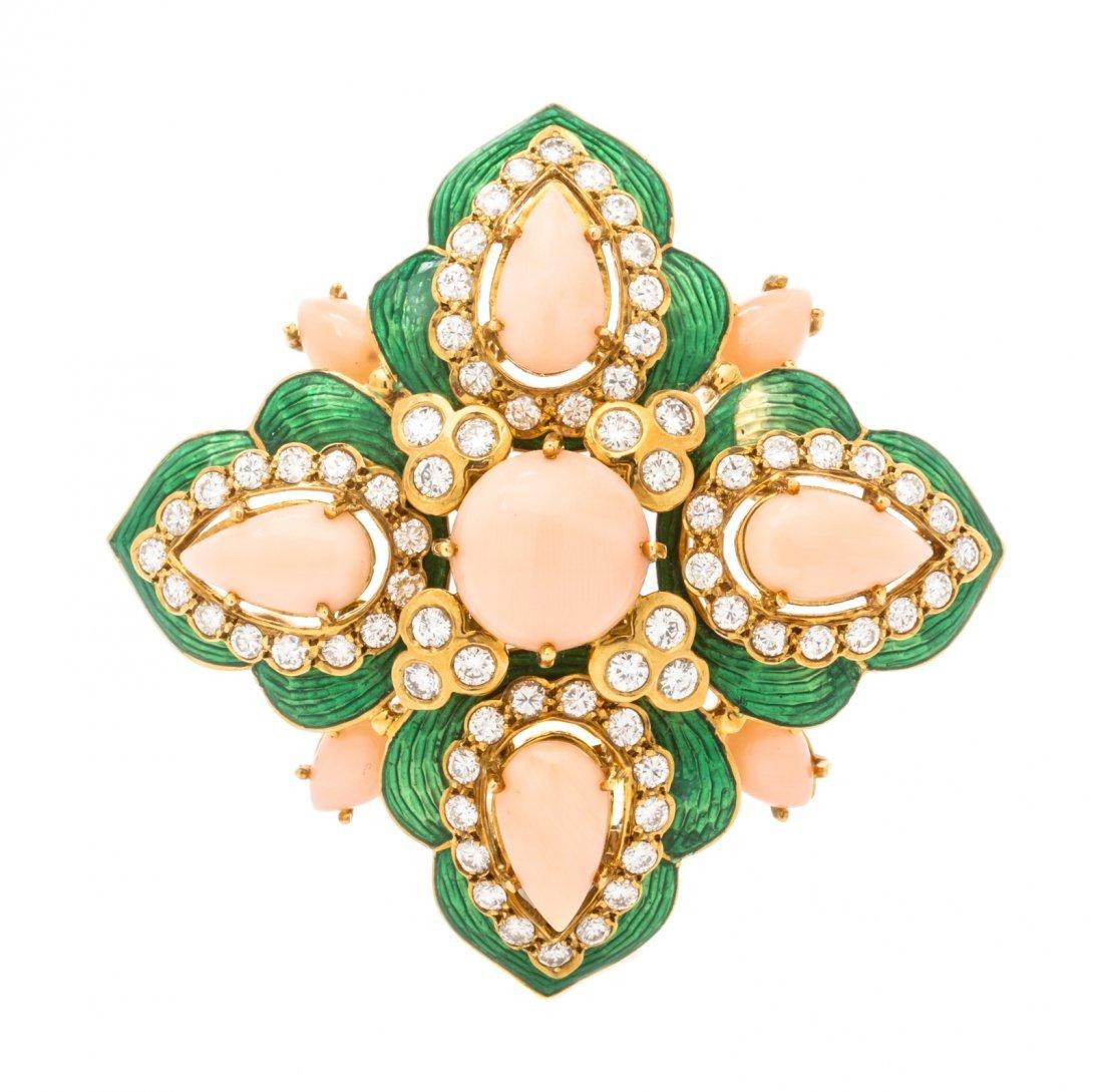 An 18 Karat Yellow Gold, Coral, Diamond and Enamel