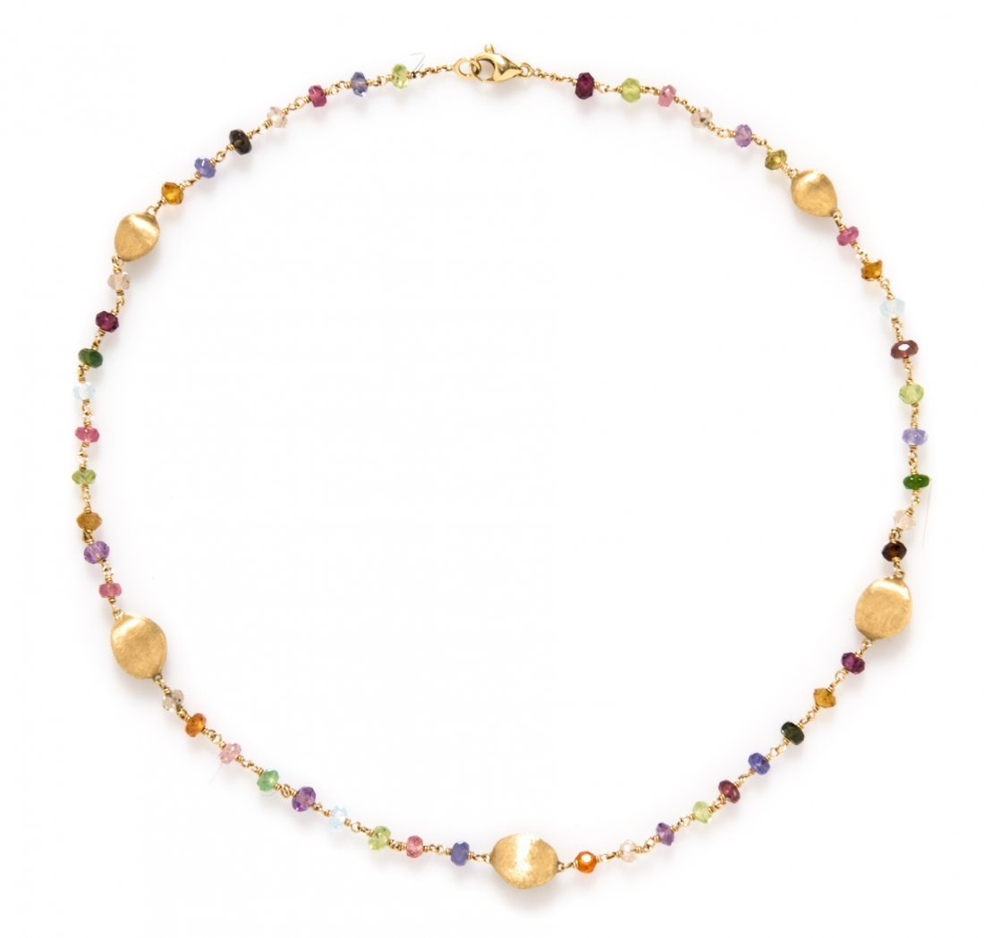 An 18 Karat Yellow Gold and Multi Gem Necklace, Marco