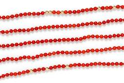 A 14 Karat Yellow Gold and Coral Bead Necklace, Tiffany