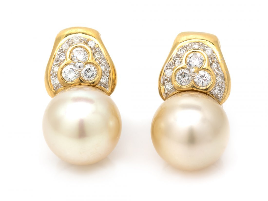 A Pair of 14 Karat Yellow Cultured South Sea Pearl and