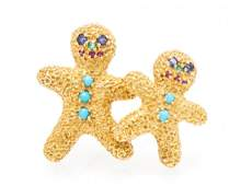 An 18 Karat Yellow Gold and Multi Gem Gingerbread