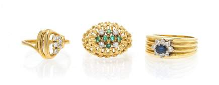 A Collection of 18 Karat Yellow Gold and Gem Rings,