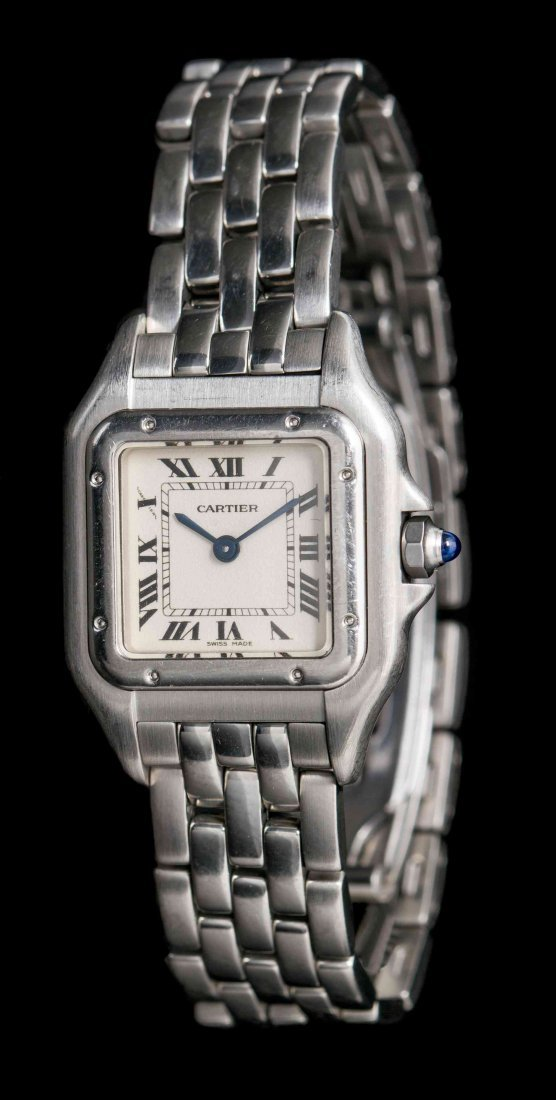 A Stainless Steel Panthere Wristwatch, Cartier,
