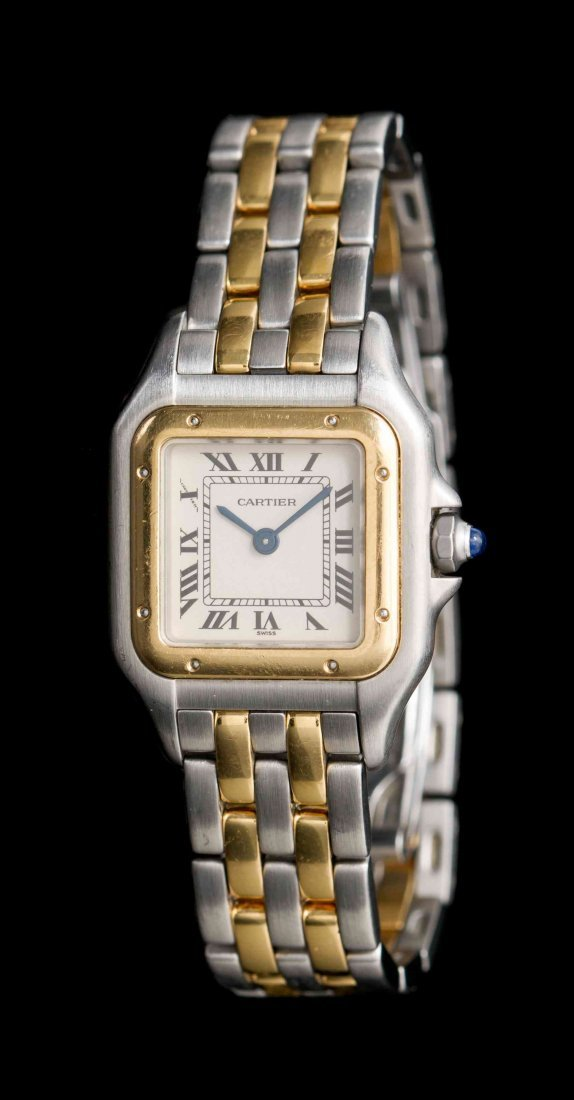A Stainless Steel and 18 Karat Yellow Gold Panthere
