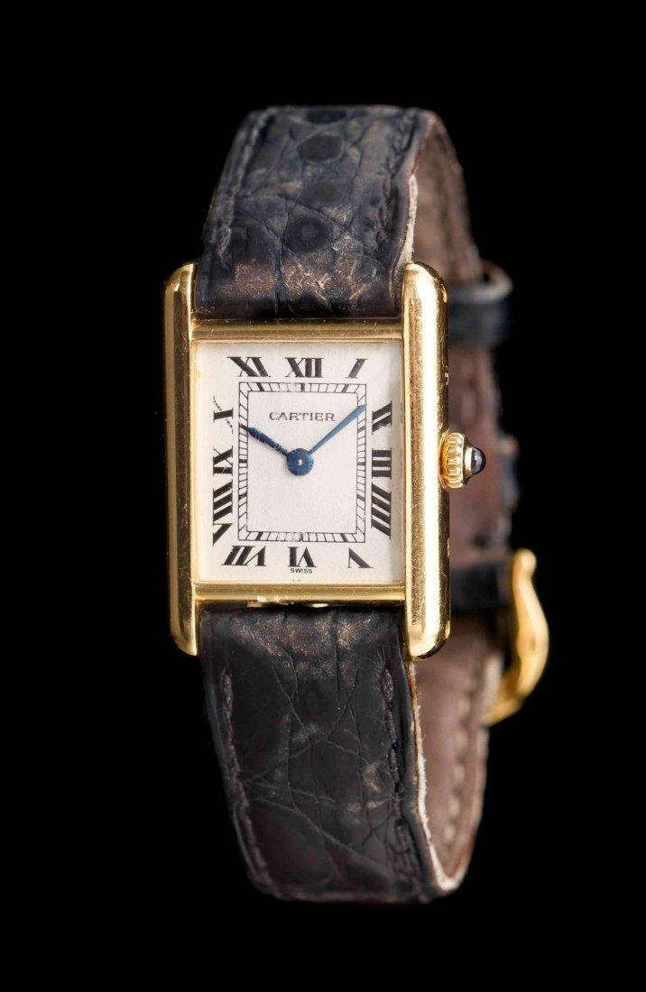 An 18 Karat Yellow Gold Tank Wristwatch, Cartier,