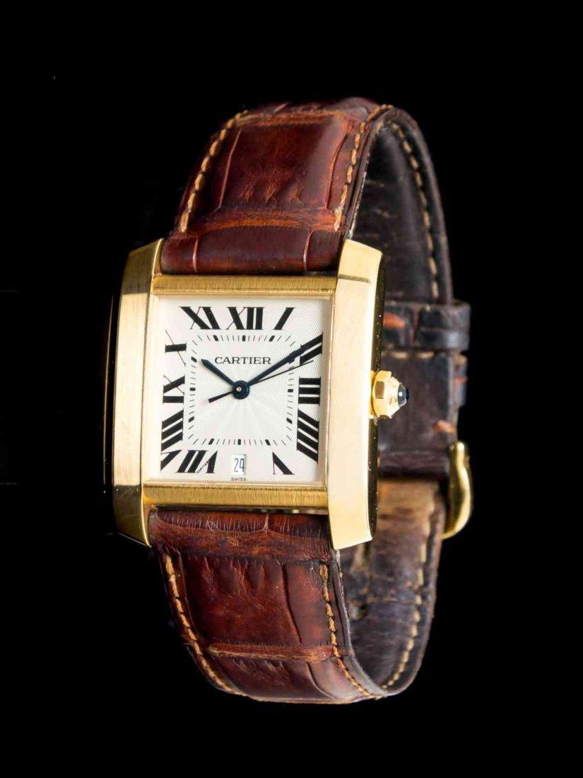 An 18 Karat Yellow Gold Tank Francaise Wristwatch,