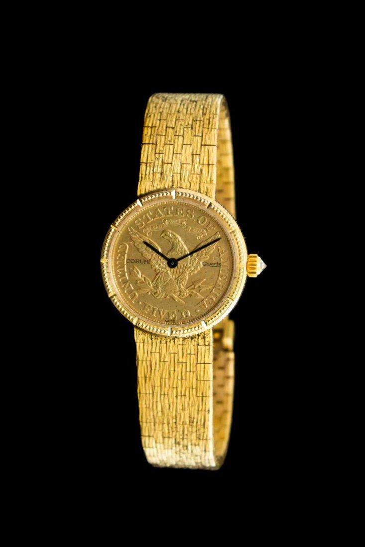 An 18 Karat Yellow Gold and US $5 Gold Coin Wristwatch,