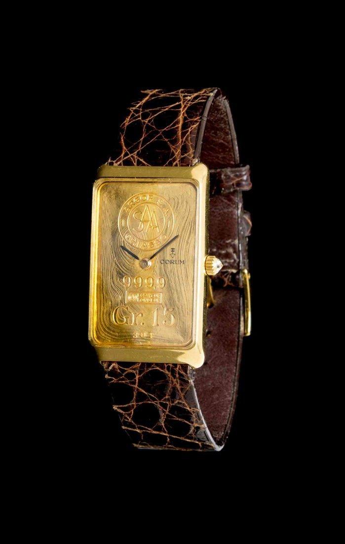 An 18 Karat Yellow Gold and Swiss Ingot Wristwatch,