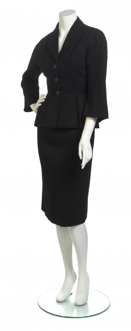 A Black Corded Silk Skirt Suit,