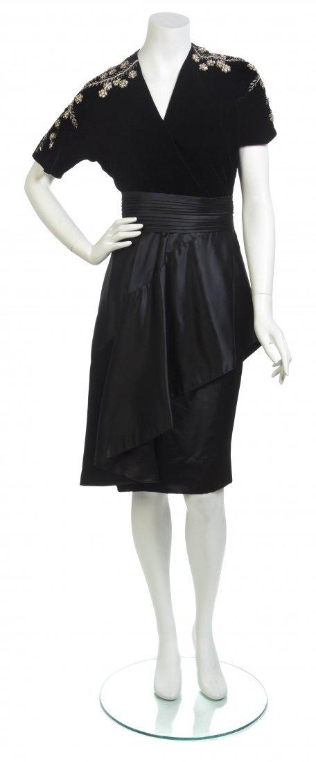 A Black Silk Satin and Velvet Dress,