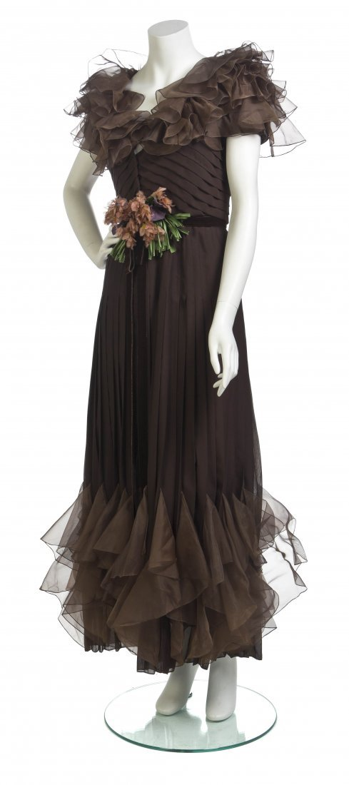 A Valentino Haute Couture Brown Silk Chiffon Gown,