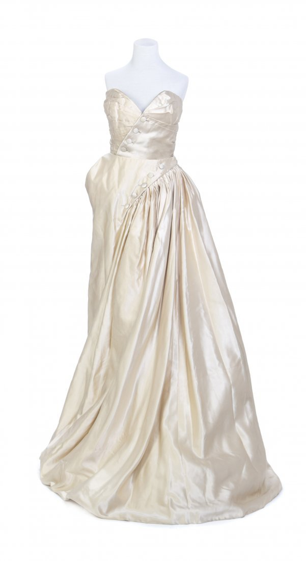 A Christian Dior Couture Ivory Silk Faille Two Piece