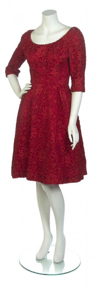 A Red Embroidered Lace Dress,