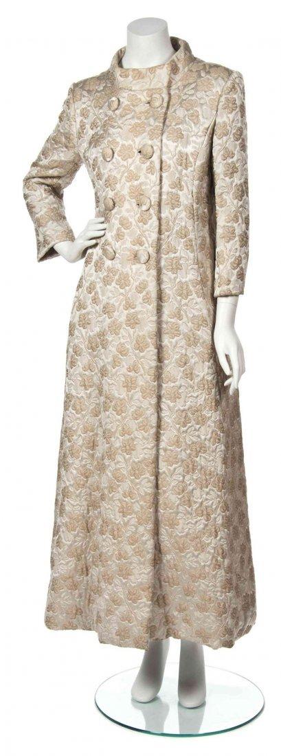 A Mollie Parnis Ivory Floral Jacquard Coat,