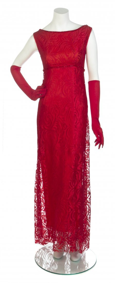 A George Halley Red Lace and Taffeta Evening Ensemble,