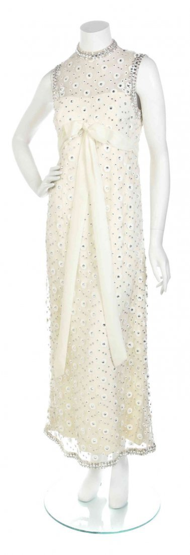 An Ivory Crystal Embroidered Tulle and Satin Gown,
