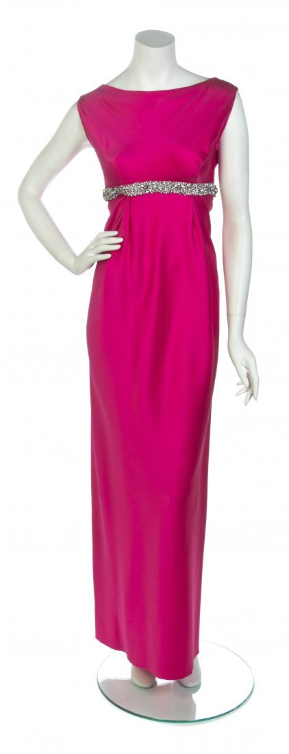 A George Halley Hot Pink Satin Gown,