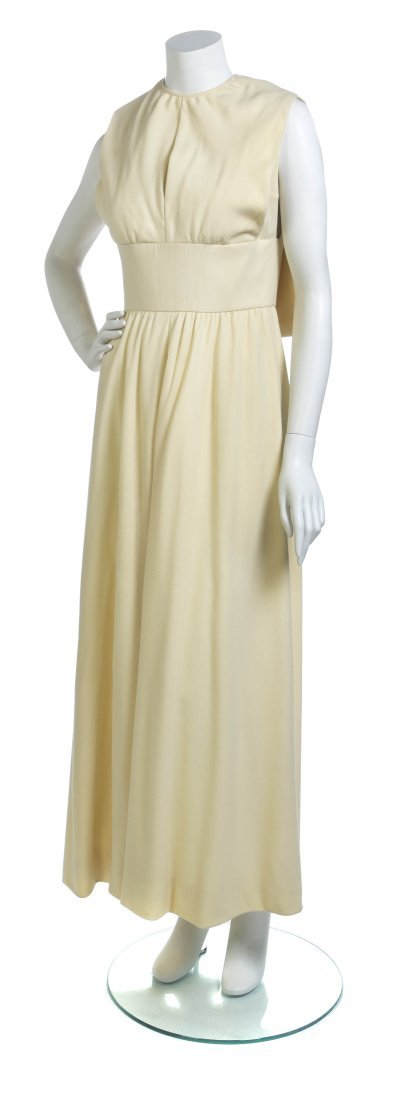 A Donald Brooks Ivory Crepe Gown,