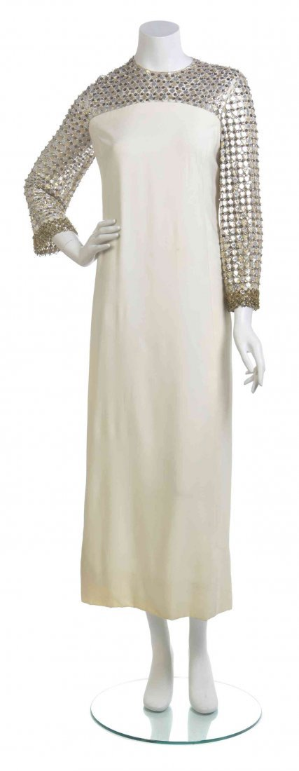 A Wilson Folmar Ivory Satin and Tulle Evening Dress,