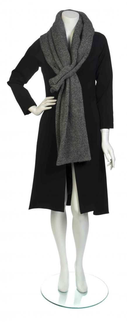 A Yohji Yamamoto Black Wool Coat and Scarf, Size 1.