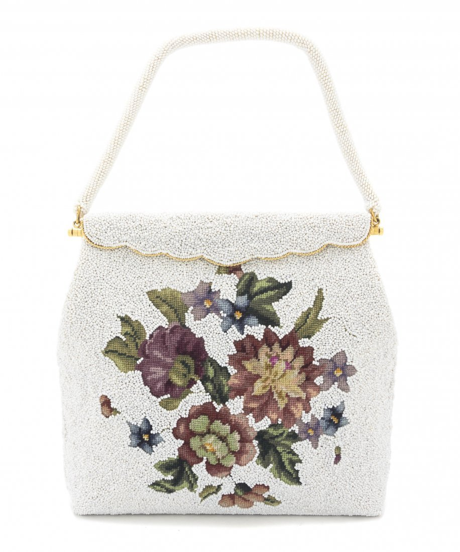 A White Beaded Flower Embroidered Bag, 8 x 8 x 1 1/2